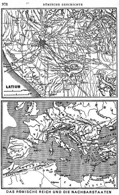 """maps from Mommsen's """"Römische Geschichte"""": """"Latium"""" & """"das Römische Reich und die Nachbarstaaten"""""""