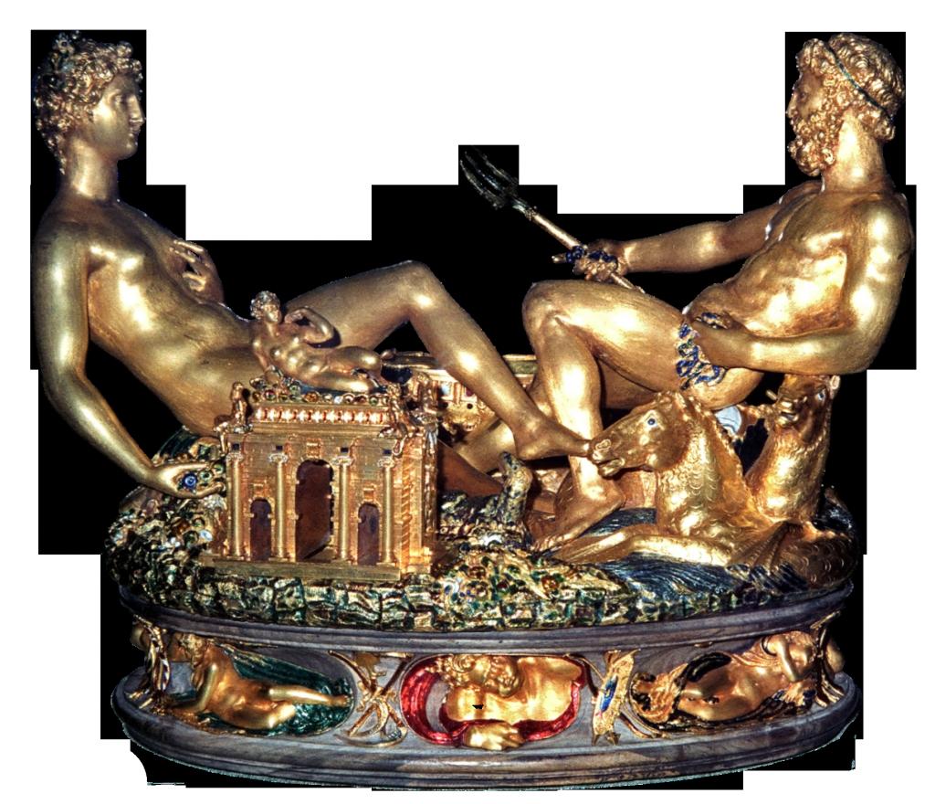 Saliera von Cellini (Paris, 1540-1543 gold, partly enamelled; pedestal: ebony), today in the Kunsthistorisches Museum Vienna