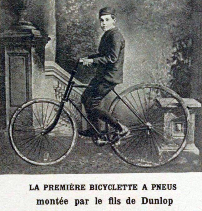 The first pneumatic bicycle (around 1888, Dunlop son).