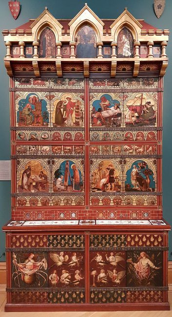 Ornate bookcase, with mythological and religious representations. Designed by William Burges (1827-1881) and painted between 1859 and 1862