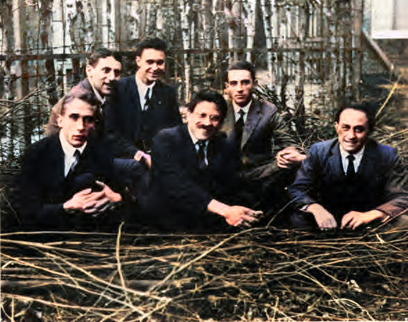 Ehrenfest's students, Leiden 1924. Left to right: Gerhard Heinrich Dieke, Samuel Abraham Goudsmit, Jan Tinbergen, Paul Ehrenfest, Ralph Kronig, and Enrico Fermi