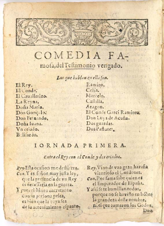 Title page from a comedy by Spanish playwright Lope de Vega.