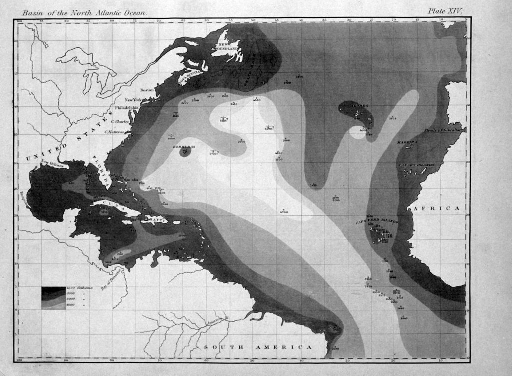First printed map of oceanic bathymetry, published by Maury in Explanations with data from USS Dolphin (1836)