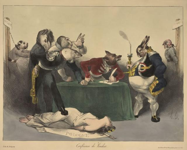 Daumier, 1832: 'Conference of London'; - info: 'At this conference the borders between Belgium,Luxemburg and Holland were redrawn'