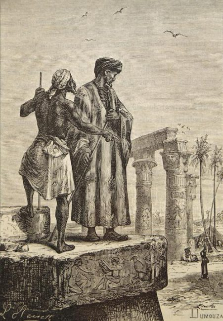 "Ibn Battuta (1304-68/69, An illustration from Jules Verne's book ""Découverte de la terre"" (""Discovery of the Earth"") drawn by Léon Benett"