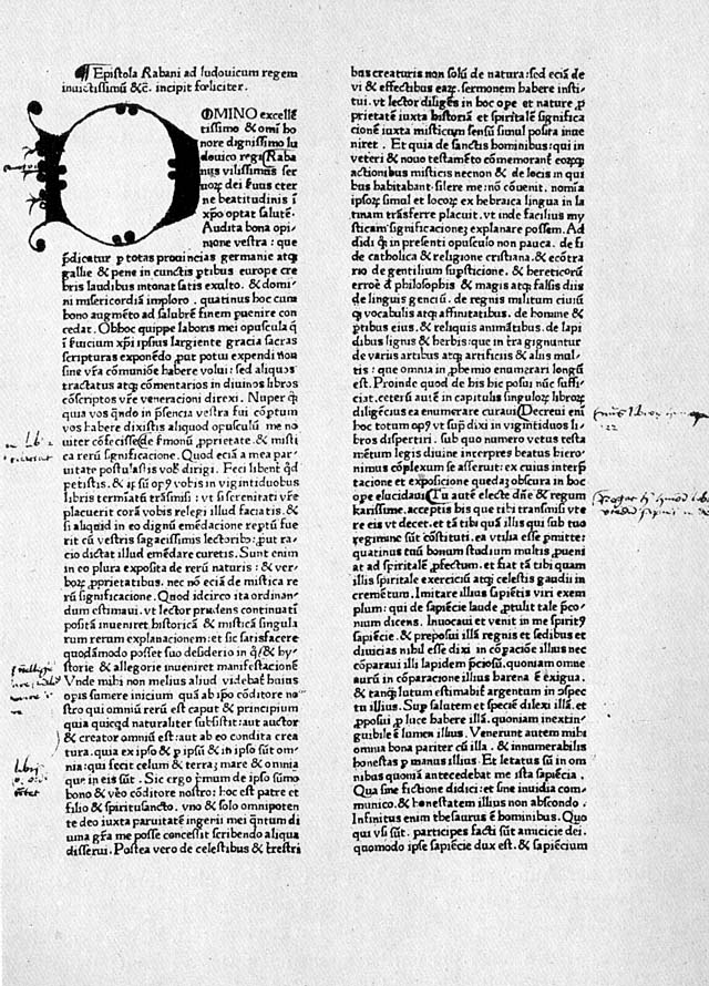 Rabanus Maurus, De rerum naturis (after 842). Early print with handwritten marginalia.