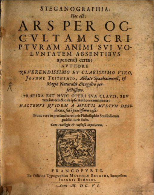 Trithemius, Johannes. Steganographia, first published 1606, written c. 1499