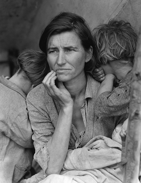 "Migrant worker Florence Owens Thompson, California 1936 Photographer: Dorothea Lange, From the exhibition ""Family of Man"""