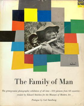 Softcover book catalogue of The Family of Man, designed by Leo Lionni, Piper photo by Eugene Harris. First issued for $1.00 in 1955 by Ridge Press, 4 million have sold and it is still in print.