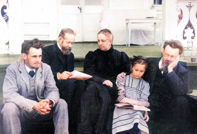 Vernadsky family in Poltava in 1908. Right-left: Vladimir, his daughter Nina, wife Natalia and her brother Pavel, son George