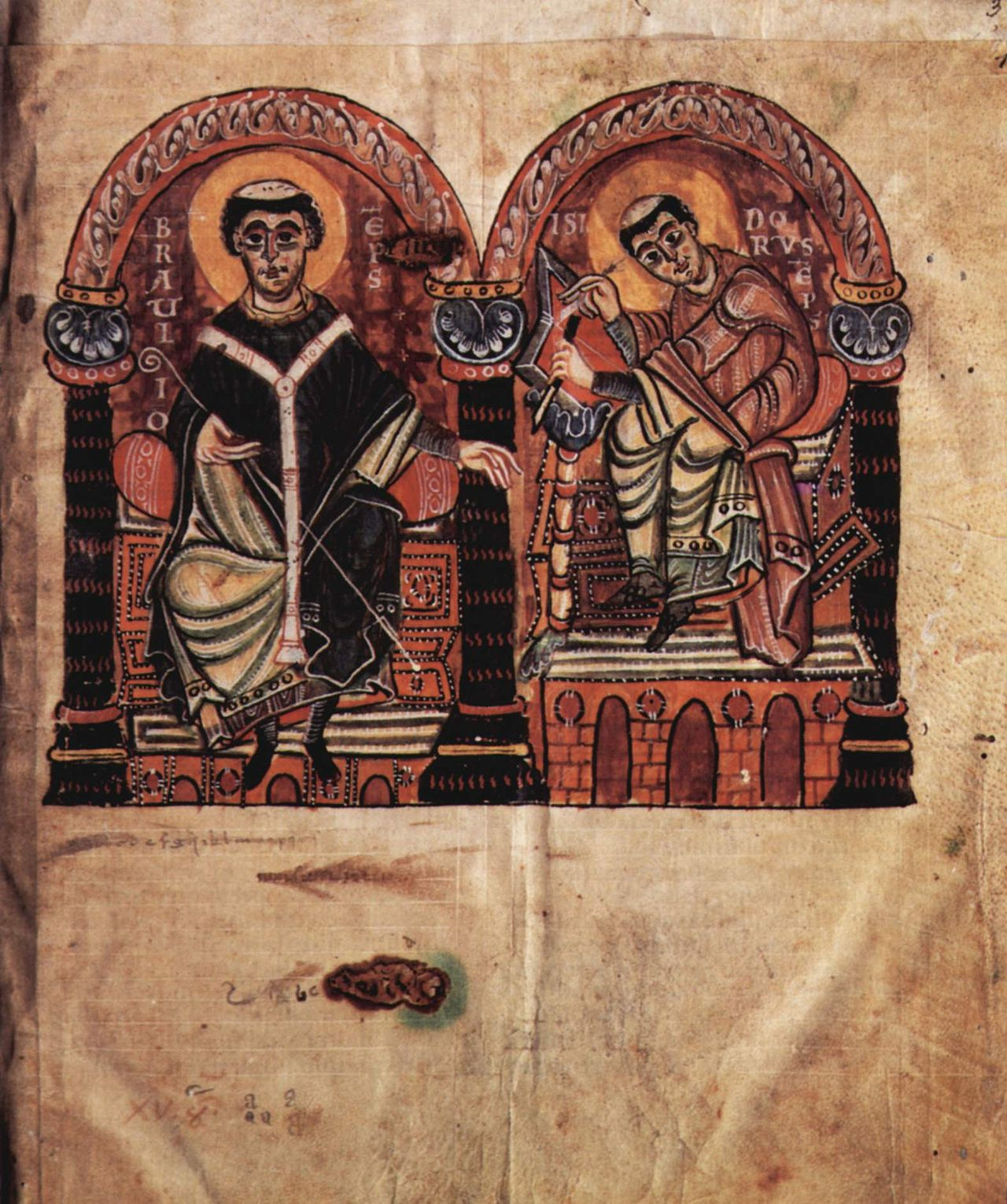 Isidore (right) and Braulio (left) in an Ottonian illuminated manuscript from the 2nd half of the 10th century