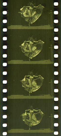 35 mm filmstrip of the Edison production Butterfly Dance (ca. 1894–95), featuring Annabelle Whitford Moore, in the format that would become standard for both still and motion picture photography around the world