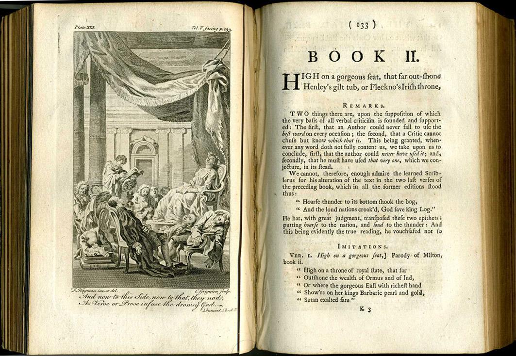 Dunciad Book II 1760 illustration, showing the Goddess and poets asleep. Artist F. Hayman, Engraver C. Grignion, Scanner & uploader Steven J. Plunkett. - 1760 Collected (Warburton) edition of Pope, London, Vol V