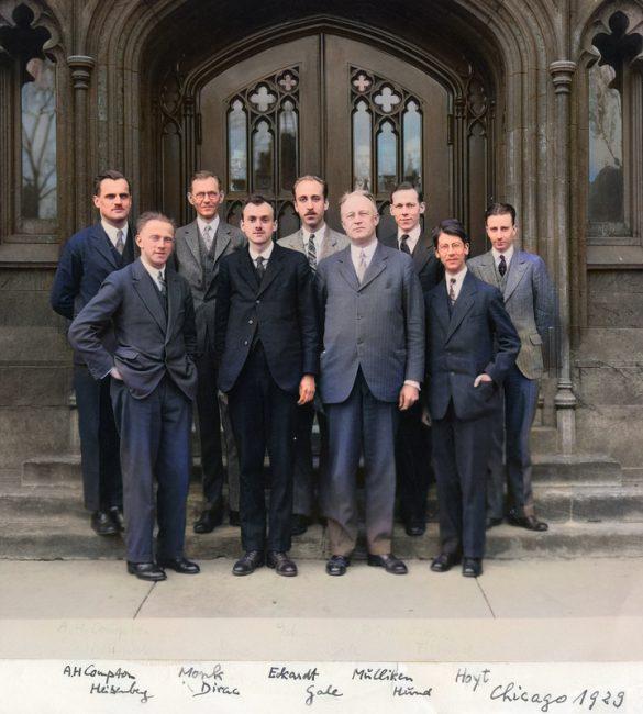 Historical picture of Arthur Compton, Werner Heisenberg, Monk, Paul Dirac, Eckardt, Gale, Robert Mulliken, Friedrich Hund and Hoyt; Image by Wikimedia User GFHund