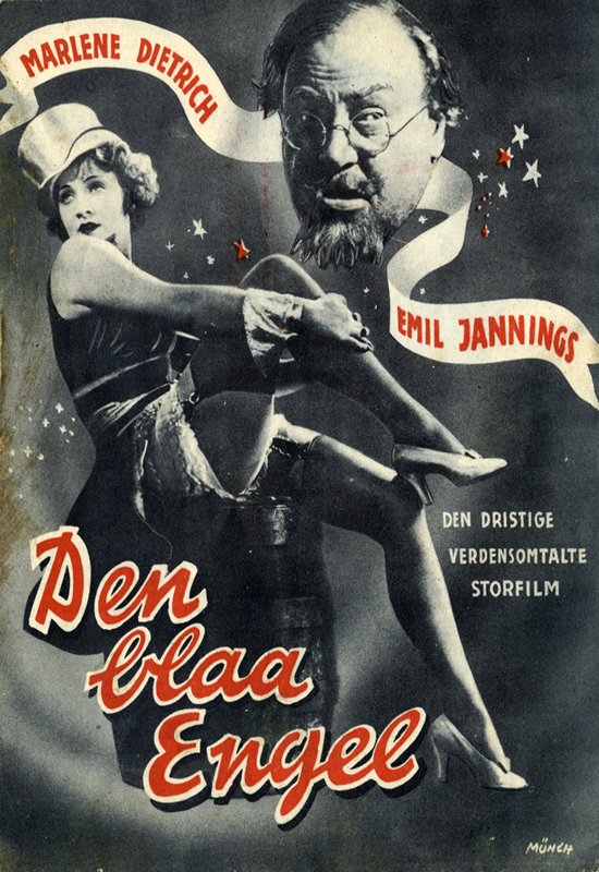 Den blaa Engel (The Blue Angel, 1930) featuring Marlene Dietrich and Emil Jannings, Danish poster