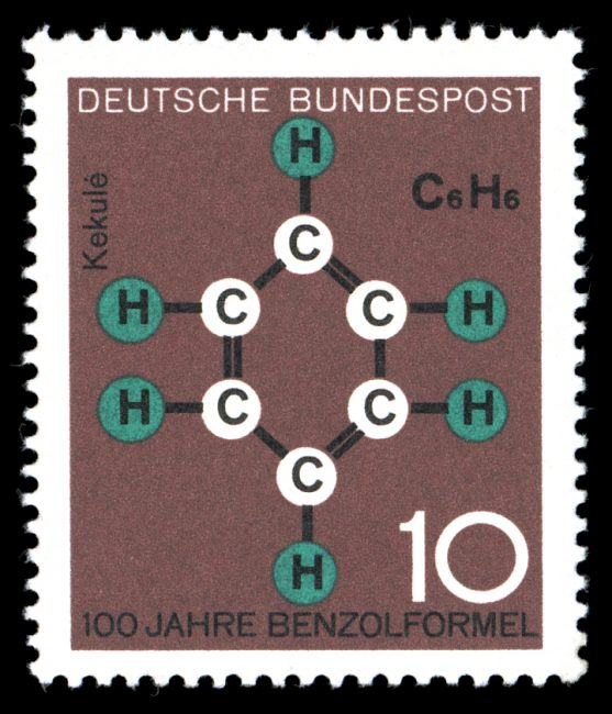 Classical symbolism of organic chemistry - benzene formula by August Kekulé, depicted on a 1964 stamp