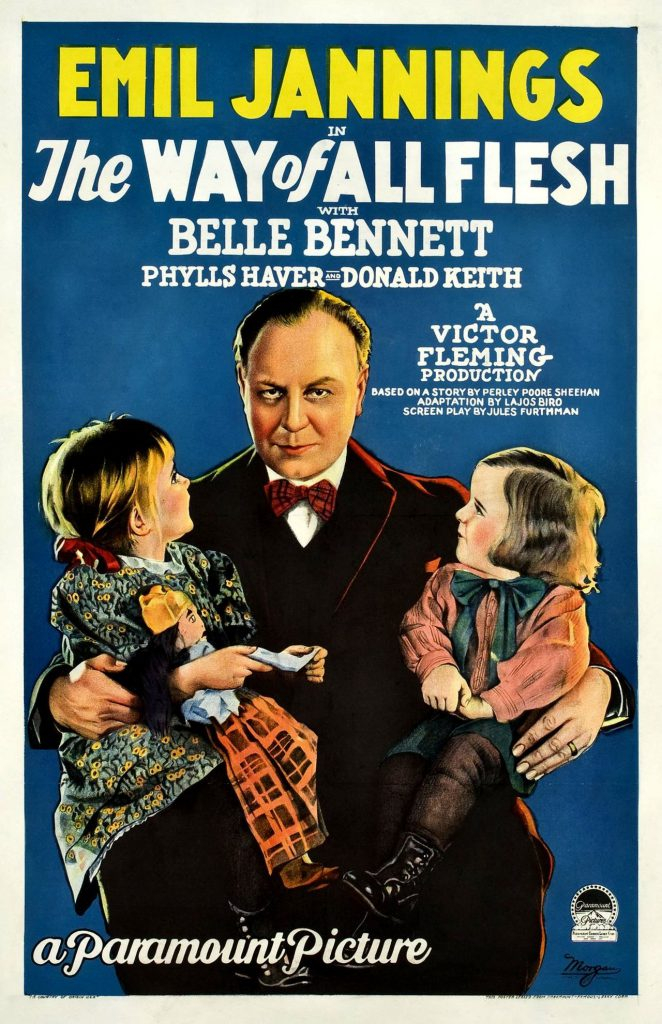 Poster for the American drama film The Way of All Flesh (1927), featuring Emil Jannings