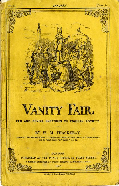 The cover of Vanity Fair: Pen and Pencil Sketches of English Society, No. I, printed by Bradbury & Evans for Punch