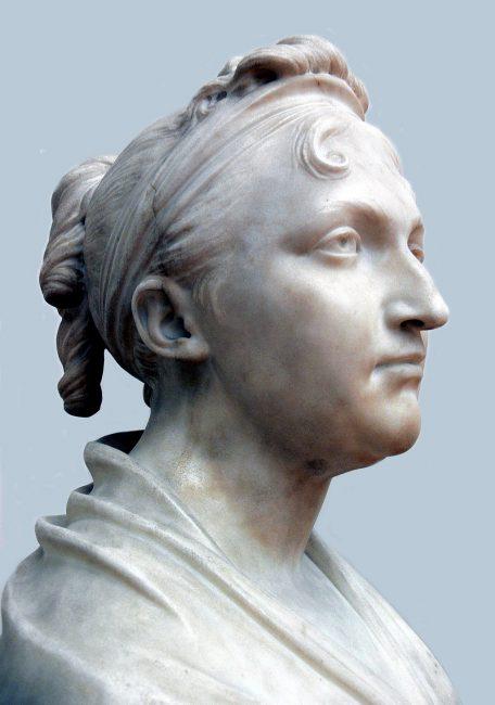 Marble Portrait bust of Dr. Dorothea von Rodde-Schlözer, by Jean-Antoine Houdon: Paris 1806