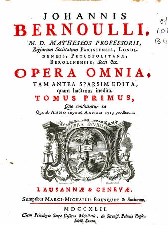 Frontispiece of Jean Bernoulli's Opera Omnia