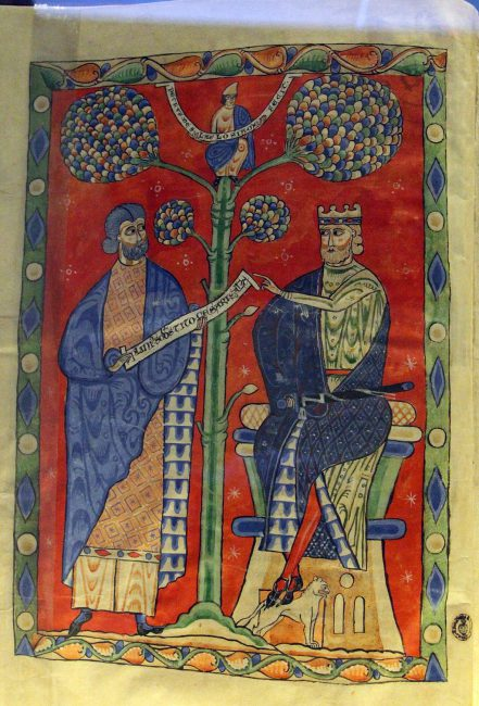 Pliny (left) presents Emperor Titus with a volume of writing with the dedication of his work. Book illumination in a manuscript of the Naturalis historia. Florence, Biblioteca Medicea Laurenziana, Plut. 82.1, fol. 2v (early 13th century)