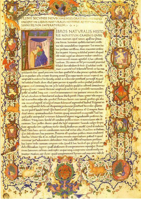 Pliny the Elder, Natural History in ms. Florence, Biblioteca Medicea Laurenziana, Plut. 82.4, fol. 3r.