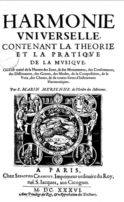 Title page of the Treaty of Marin Mersenne, Universal Harmony, 1636.