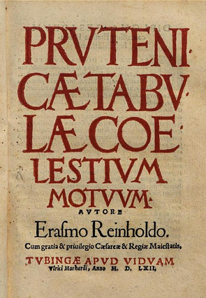 Frontpage of first edition Erasmus Reinhold's Prutenic Tables' (1551)'