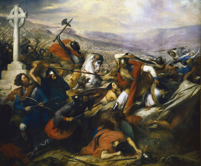 The battle of Tour and Poitiers, painting by Carl von Steuben, 1837.
