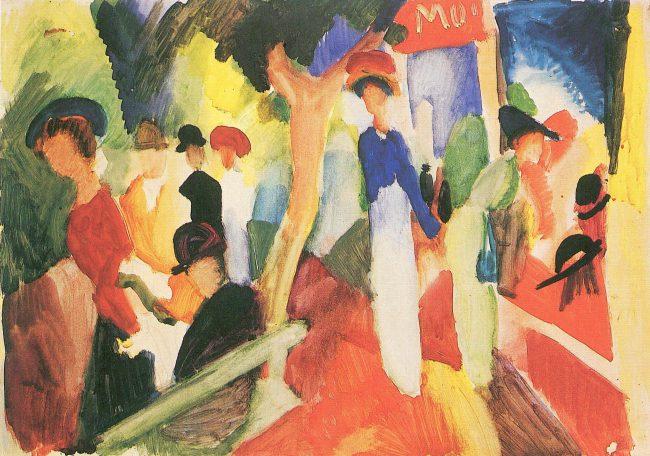 August Macke, Hutladen an der Promenade (1914)