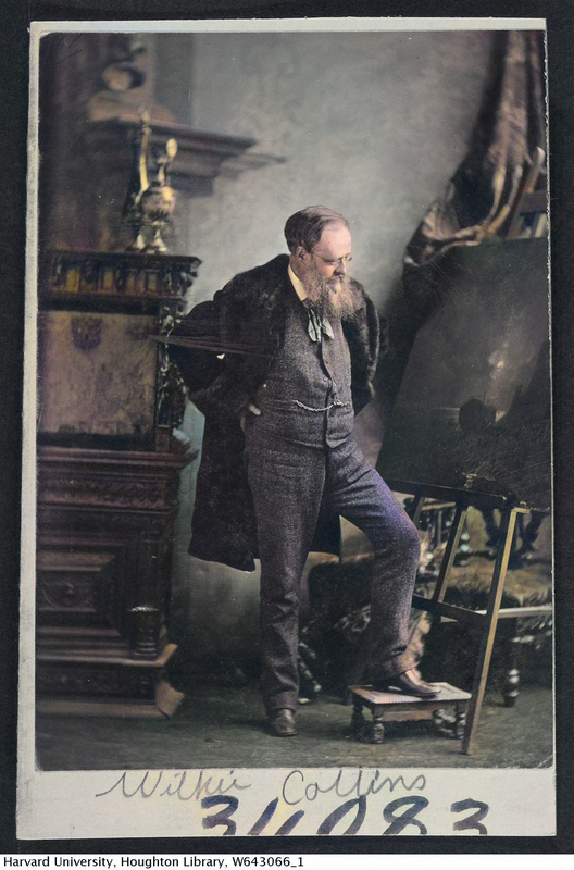 Cabinet card image of English author and playwright Wilkie Collins (1824-1889), Harvard Theatre Collection