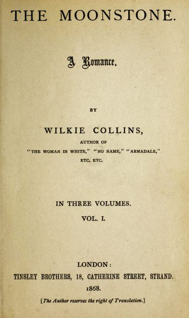 Wilkie Collins, The Moonstone, front page 1st edition 1868