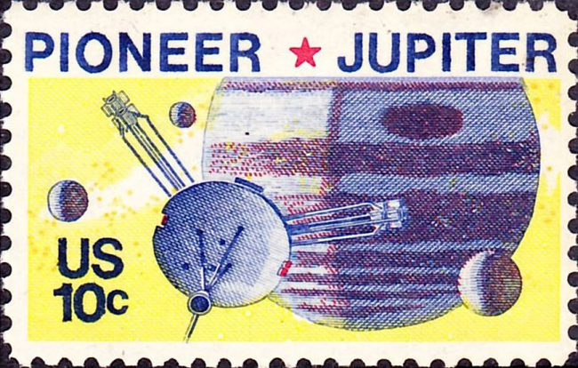 US stamp with Pioneer 10 Jupiter Mission, 1975, US Post Office; Bureau of Engraving and Printing