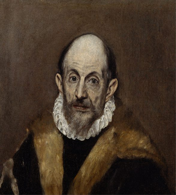 El Greco (1541 - 1614) Portrait of a Man (presumed self-portrait of El Greco, c. 1595–1600) in Metropolitan Museum of Art, New York City
