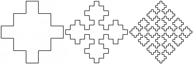 """Sierpinski """"square curve""""[2] of orders 2-4"""
