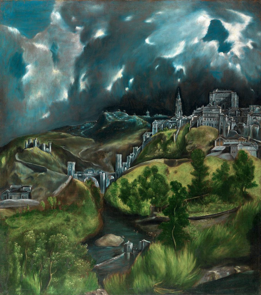 View of Toledo (c. 1596–1600, oil on canvas, 47.75 × 42.75 cm, Metropolitan Museum of Art, New York) is one of the two surviving landscapes of Toledo painted by El Greco.