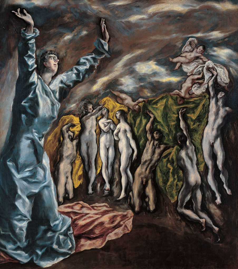 The Opening of the Fifth Seal (1608–1614, oil, 225 × 193 cm., New York, Metropolitan Museum) has been suggested to be the prime source of inspiration for Picasso's Les Demoiselles d'Avignon.