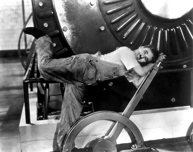 Publicity photo of Charlie Chaplin for the film Modern Times (1936).