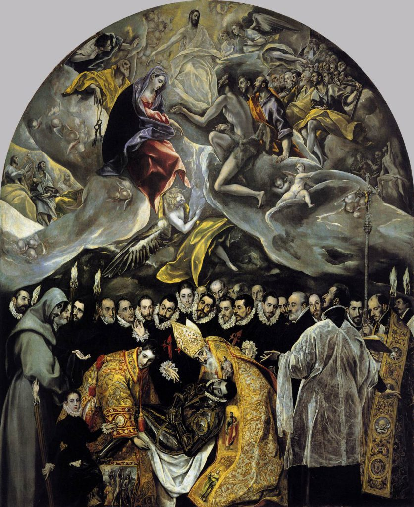 The Burial of the Count of Orgaz (1586–1588, oil on canvas, 480 × 360 cm, Santo Tomé, Toledo), now El Greco's best known work, illustrates a popular local legend. An exceptionally large painting, it is clearly divided into two zones: the heavenly above and the terrestrial below, brought together compositionally.