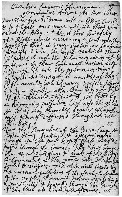 Page from notebook of Henry Power which he gives the date 1614 for Harvey's discovery of the circulation of the blood. Power's notes were written many years later. photo: Wellcome Images, Keywords: William Harvey