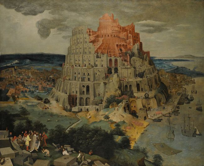 The Tower of Babel, oil on panel painting by Pieter Brueghel the Younger