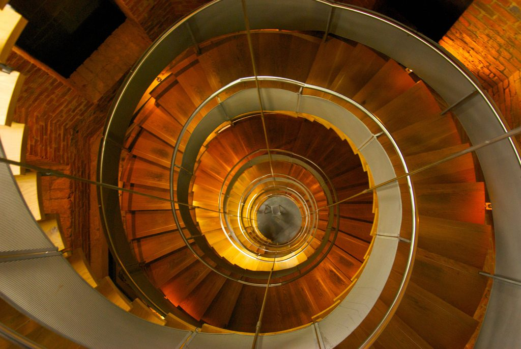 The spiral staircase at the Lighthouse in Mitchell Lane, Glasgow