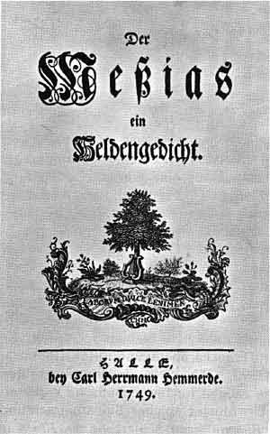 "First page of ""Der Messias"", by Friedrich Gottlieb Klopstock, 1749, [public domain]"