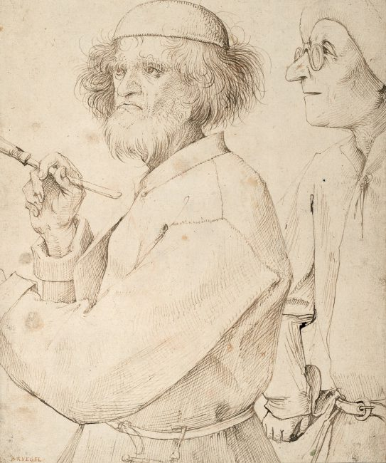 In the drawing Painter and Buyer, Bruegel may have depicted himself (c. 1565)